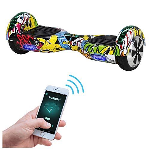 Robway W1 Hoverboard - Das Original - Samsung Marken Akku - Self Balance - 22 Farben - Bluetooth - 2 x 350 Watt Motoren - App - Led (Grafit Gelb)