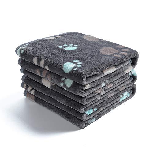 luciphia 1 Pack 3 Decken Super Weich Fluffy Premium Fleece Haustier Decke Flanell Wurf für Hund Welpen Katze Grau Pfote,Medium (76 * 52cm)