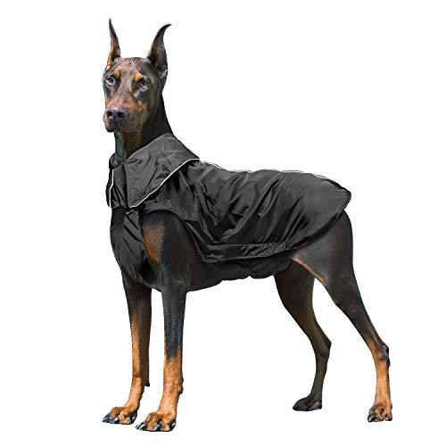 IREENUO Hunderegenmantel, Wasserdichter Hundemantel Regenjacke, mit Sicherheits Reflex Streifen, Geeignet für Outdoor-Bekleidung Mittlerer und Großer Hunde 3XL,Schwarz