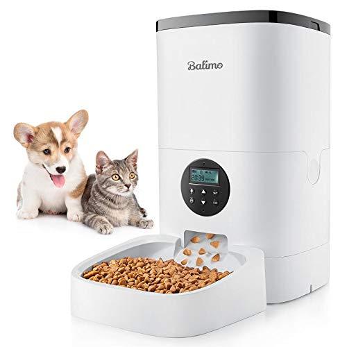 Balimo 6L Automatisch Futterspender für Katzen und Hunde, Automatischer Futterautomat mit Timer und Ton Aufnahmefunktion, 4 Mahlzeiten und Tierfutter Anti-Blocking-Design, Smart Pet Feeder