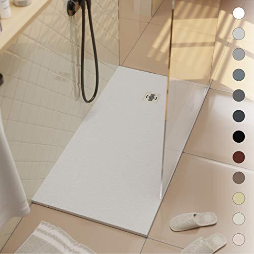 Ebro Harz-Duschwanne - Schiefer und rutschfeste Struktur - Superflache Duschwanne - Alle Größen verfügbar - Inklusive Siphon und Gitter - weiß RAL 9003-70 x 70