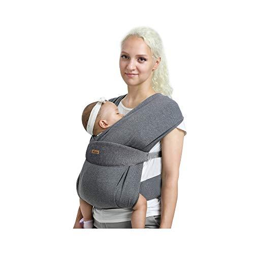 CUBY Verbessert Babytragetuch,Baby Tragetuch Neugeborene,Atmungsaktiv, einfach, hautfreundlich und weich (Klassisches Dunkelgrau)