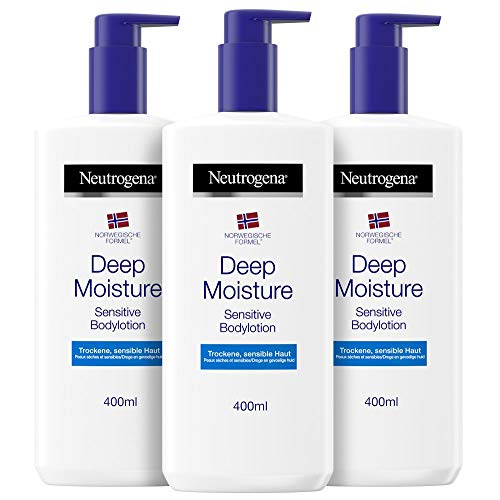 Neutrogena Deep Moisture Bodylotion Sensitive, Norwegische Formel, Körpercreme parfümfrei, Trockene und sensible Haut, (3x 400ml)