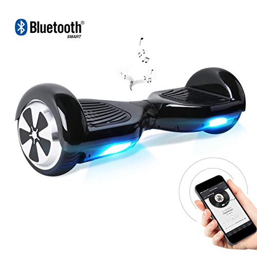 Hoverboard, 6.5 Zoll Self Balancing Scooter mit Bluetooth Lautsprecher - Tragetasche - LED Lights Elektro Scooter (Black)