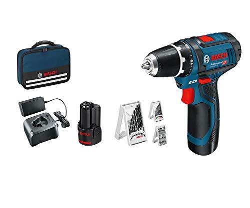 Bosch Professional 12V System Akkuschrauber GSR 12V-15 (inkl. 2x2,0 Akku + Ladegerät, 39tlg.-Zubehör-Set, in Tasche) - Amazon Edition