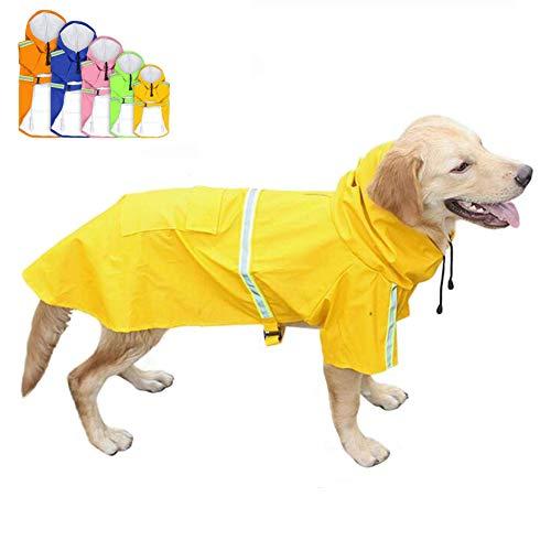 FEimaX Hunderegenmantel Wasserdicht Hunde Regenjacke mit Reflektierenden Streifen, Verstellbarer Regenmantel mit Kapuze und Kragenloch für Kleine Mittelgroße und Große Hunde