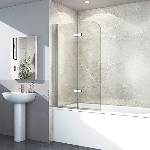 EMKE Duschtrennwand 120x140cm Faltwand Duschwand für Badewanne 180° Schwenkbar Badewannenaufsatz mit Beidseitige Nanobeschichtung