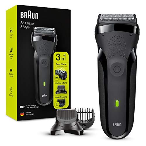 Braun Series 3 Rasierer Herren, 3-in-1-Elektrorasierer, Barttrimmer mit 5 Kammaufsätzen, 30 Minuten Akkulaufzeit, wiederaufladbarer und kabelloser elektrischer Rasierer, schwarz