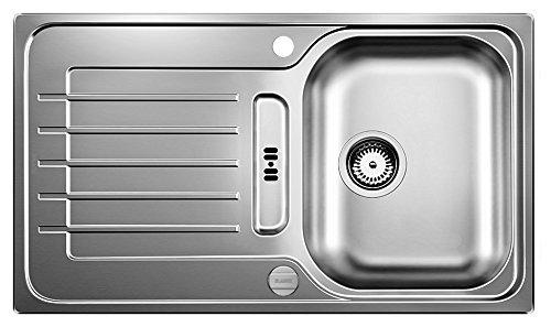 Blanco Zia 45 S, Küchenspüle, reversibel, Edelstahl Bürstfinish / inklusive 3 1/2' Korbventil und Ablauffernbedienung; 514614