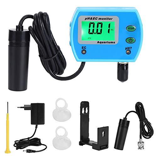 Wasserqualitätsmonitor, PH/EC-Tester Aquarium-Wassertester, mit LCD-Hintergrundbeleuchtung, automatische Temperaturkompensation, für Wassersysteme, Hydroponik, Pool