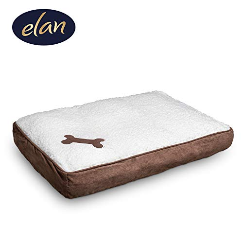 elan ® Hundekissen - hygienisches & bequemes Hundebett - leicht zu reinigen - atmungsaktives Material - edle Lammfelloptik