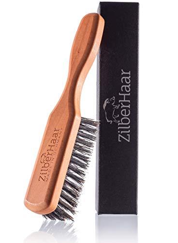 ZilberHaar Bartbürste (Harte Borsten) | 100% Wildschweinborsten und Deutsches Birnbaumholz | Mit Allen Bartbalsams und -Ölen Verwendbar | In Deutschland Hergestellt