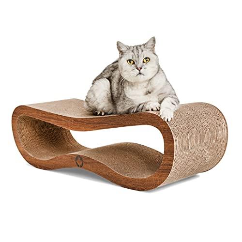 CanadianCat Company ® | Kratzbrett Orbit | walnussbraun | Kratzmöbel, Lounge für Katzen | Kratzpappe + Katzenminze | ca. 84 x 24 x 23cm