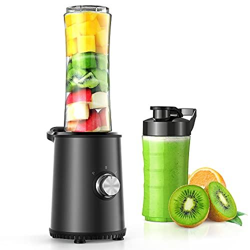 Elemore Home Smoothie Mixer mit 3 Modus, Edelstahl für Smoothie, Shakes, Eis und Tiefkühlfrüchte, Babynahrung, mit 1x600ml & 1x300ml BPA Freie Flasche 350W (Schwarz)