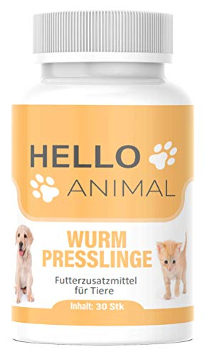 NEU: HelloAnimal Wurm Presslinge Kur für Tiere wie Katzen, Hunde, Kaninchen und Geflügel - vor, während und nach Befall, natürliches Mittel für Magen und Darm bei WURMBEFALL