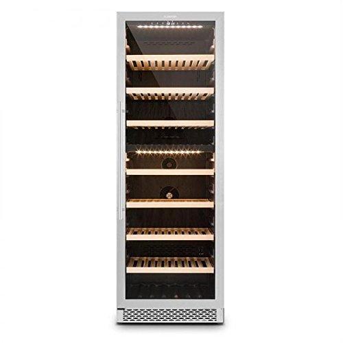 Klarstein Gran Reserva - Getränkekühlschrank, Weinkühlschrank, Gastro Kühlschrank, 2 Zonen, 379 Liter, 7 Holzeinschübe, 166 Flaschen, LED, Touch, leise, schwarz-silber