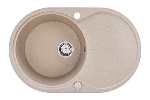LINDBERGH Granitspüle'IDE22' Beige Einbauspüle Küchenspüle Spüle Spülbecken + DREHEXCENTER - Verbundstoffe MADE IN GERMANY