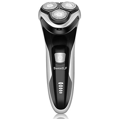SweetLF Rasierer elektrischer für Herren, Rasierapparat mit Präzisionstrimmer Bartschneider Nass-Trockenrasierer Elektrorasierer 100% wasserdicht & Energieanzeige, schwarz (7105BK)