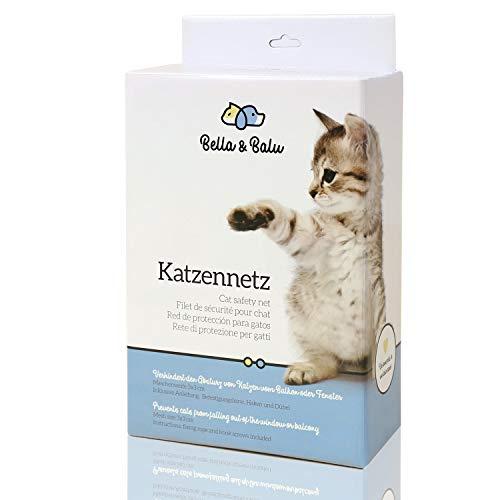 Bella & Balu Katzennetz inkl. Haken, Dübel, Rundumseil und Anleitung – Transparentes Schutznetz für Katzen zur Absicherung von Balkon, Terrasse, Fenster und Türen (transparent | 4 x 3 m)