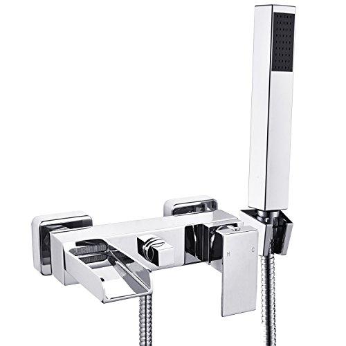 2 Verbraucher Wannenarmatur Einhebel-Wannenmischer Armatur Wasserhahn Duscharmatur mit Handbrause inkl. Wandhalterung für Bad Wasserfall