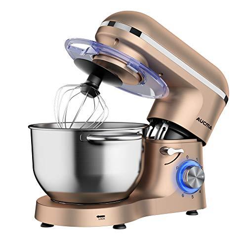 Aucma Küchenmaschine 1400W mit 6,2L Edelstahl-Rühlschüssel, Rührbesen, Knethaken, Schlagbesen und Spritzschutz, 6 Geschwindigkeit Geräuschlos Teigmaschine (Champagner)