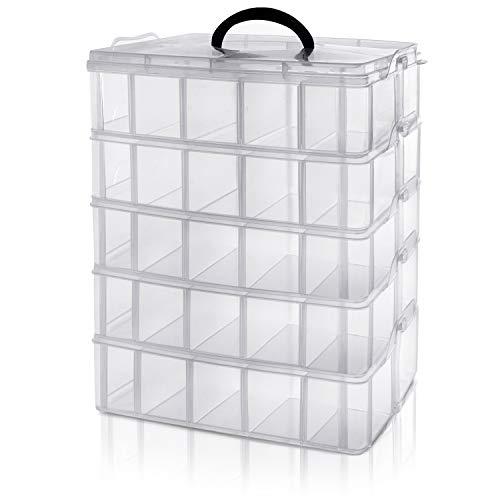 BELLE VOUS 5 Ebenen Transparente Sortierboxen für Kleinteile mit 50 verstellbaren Fächern -Organizer Box-Schraubenbox-Sortierbox-Kleinteile Aufbewahrung für Spielzeug, Schmuck, Kosmetik&Accessoires