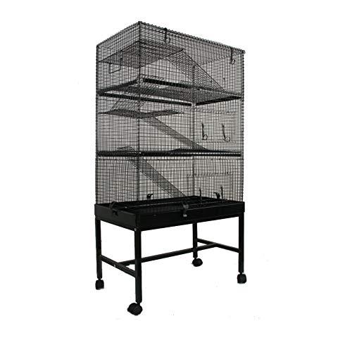 MyPets - Nager Käfig Mega Cage XXXL 145x70x40cm mit Schublade für leichtes Reinigen - Rattenkäfig groß - Voliere für Degu, Chinchilla, Frettchen, Wüsten-Rennmäuse & Co - mit Etagen und Leitern auf Rollen