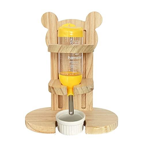 Ysislybin Hamster Trinkflasche,Nagertrinkflasche,Hamster Trinkflasche mit Ständer,Holz Nager WasserflaschenKeramiknapf,Hamster Wasser Feeder,mit Napf,für Kleintiere Nagen,Kaninchen,Ratten 80ml