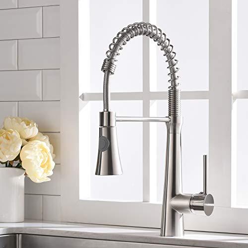 TIMACO Wasserhahn Küche 360° Drehbar Küchenarmatur Mischbatterie Küche Armatur Küche Spiralfederarmatur Gebürsteter Nickel