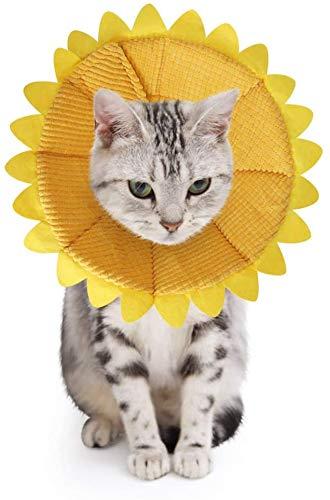 SLSON Halskrausen für Hunde Katze,Bequem Weich Recovery Schutz für Haustier Nackenschutz Kissen und Verstellbarer Kragen mit Gelbem Sonnenblumenmuster (S)