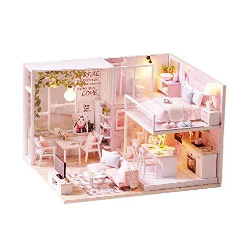 QLKJ DIY Puppe Haus 3D Holz Montage Mini Puppe Haus Spielzeug Schlafzimmer KüChe Bad MöBel Set Spaß Montage Spielzeug Geschenke,Tranquil,L