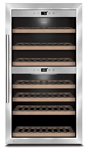 CASO WineComfort 66 Design Weinkühlschrank für bis zu 66 Flaschen (bis zu 310 mm Höhe), zwei Temperaturzonen 5-20°C, Getränkekühlschrank, Energieklasse A