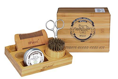 BFWood Bartpflege-Set mit Bambusbox für Männer - Bartbürste, Bartkamm, Schere, Bartbalsam 30g zum Trimmen, Behandeln, Weichmachen, Pflegen, Stylen