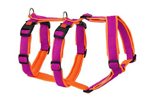 Greyhound Safe it™ Das Original Hundezubehör Hundesicherheitsgeschirr gepolstert - Panikgeschirr, 100% ausbruchssicher, 4 Größen, 10 x 10 Farbkombinationen, Grundfarbe PINK (M, Neon-Orange)