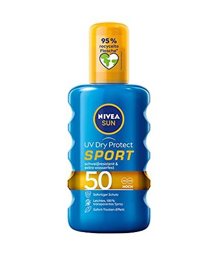 NIVEA SUN UV Dry Protect Sport Sonnenspray LSF 50 (200 ml), 100% transparenter Sonnenschutz, schweißresistente & extra wasserfeste Sonnencreme