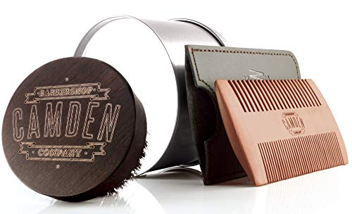 Bartbürste & Bartkamm von Camden Barbershop Company  inkl. Case  aus Walnuss- & Birnbaumholz  Set für die tägliche Bartpflege & das Auftragen von Bartöl