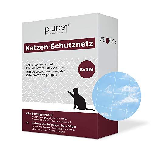PiuPet® Katzennetz durchsichtig - Balkonnetz transparent ideal für Deine Katze - Katzennetz für Balkon & Fenster inkl. Kabelbinder & Befestigungsseil