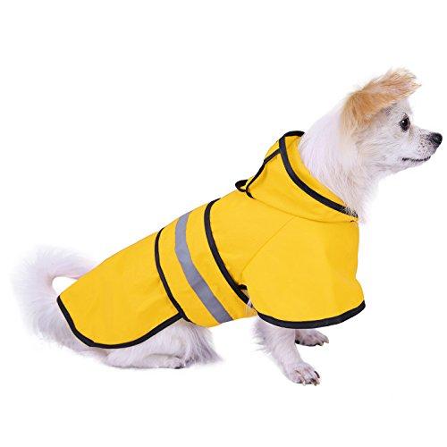 HDE Hunde-Regenjacke mit Kapuze Slicker Poncho für kleine, Large, Hunde und Welpen
