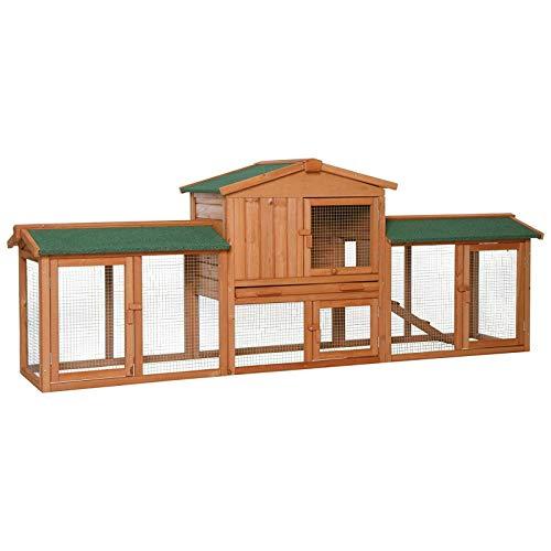 dibea RH10241, XXXL Kaninchenstall 223 x 52 x 85 cm (B x T x H, braun), Premium Kleintierstall für Hasen, Meerschweinchen oder Zwergkaninchen, wetterfestes Dach