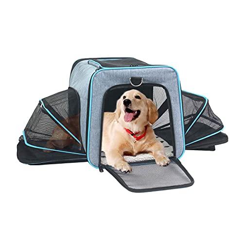 ABISTAB Pet erweiterbare Tragetasche, Hundebox, Katzen und Hunde Transportbox, ausklappbar, Faltbare größere Haustiertragetasche, Matte mit Hartfaserplatte, für Auto Reisen geeignet