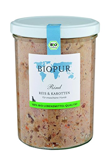 Biopur Rind, Reis, Karotten 400g Bio-Hundefutter im GLAS, 6er Pack (6 x 400 g)