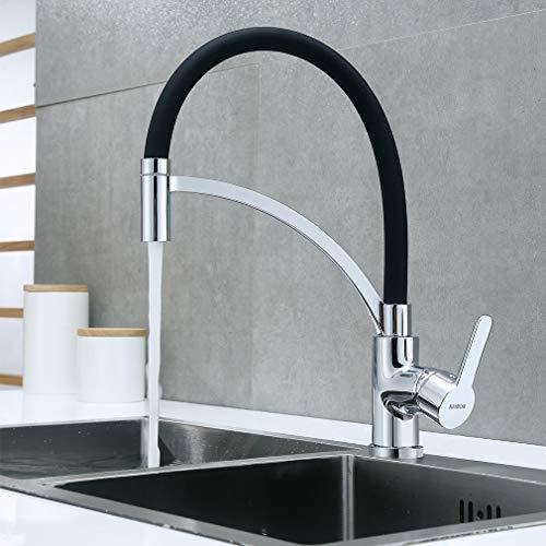 KAIBOR Küchenarmatur Schwarz 360° drehbar Wasserhahn Küche, Einhebelmischer Mischbatterie Armatur für Küche Spüle, Messing Verchromt Spültischarmatur, Schwenkbereich Wählbar