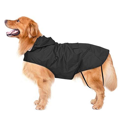 Bwiv Hunde Regenmantel Wasserdicht Regenjacke mit Reflektor Hundemantel Groß Gefüttert Ultraleichte Atmungsaktive Reganmantel Hundejacke Reflexstreifen Regenjacke Hunde Mit Kapuze Schwarz 6XL