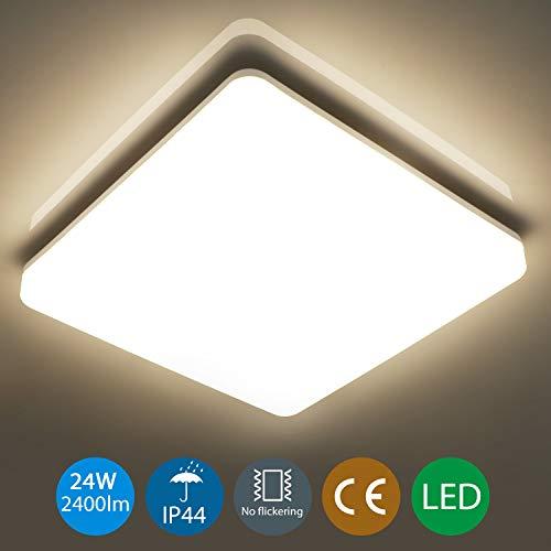 Oeegoo 24W LED Deckenleuchte Bad, 2400lm(100Lm/W) IP44 Feuchtraumleuchte Badlampe Badezimmerlampe 33x33cm, Led Deckenlampe Für Kinderzimmer Flur Wohnzimmer Küche Büro Korridor 4000K