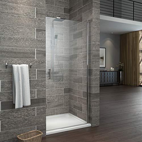 WELMAX 90 x 195 cm Pendeltür Dusche Duschabtrennung Duschtür mit Beidseitiger Nano Beschichtung 6mm ESG Glas