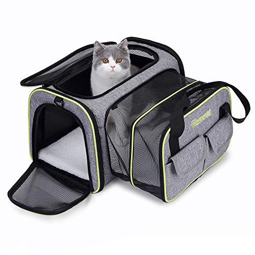 DADYPET Transporttasche Katze und Kleine Hunde, Katzentransportbox Katzen Transporttasche & Hundebox für den Transport von Hund & Katze im Flugzeug, Auto oder in der Bahn 44.5 * 33 * 28cm (Grau)