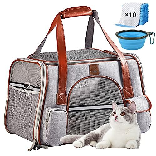 Transportbox Katze groß, Katzen Hunde Transportboxen, Faltbare Katzentransportbox, OMNIQI Atmungsaktive Transporttasche Katze Hunde, Katzentransporttasche im Autos mit Wickelauflage Futternapf