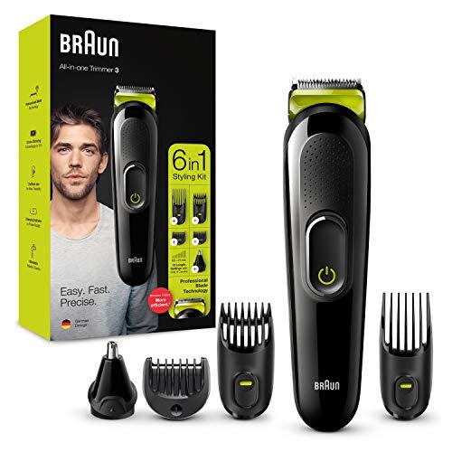 Braun 6-in-1 Multi-Grooming-Kit 3 MGK3221, professionelle Klingen-Technologie, Gesichtshaar- und Barttrimmer, 5 Aufsätze, Ohren- und Nasenhaar-Trimmerkopf, schwarz/volt-grün