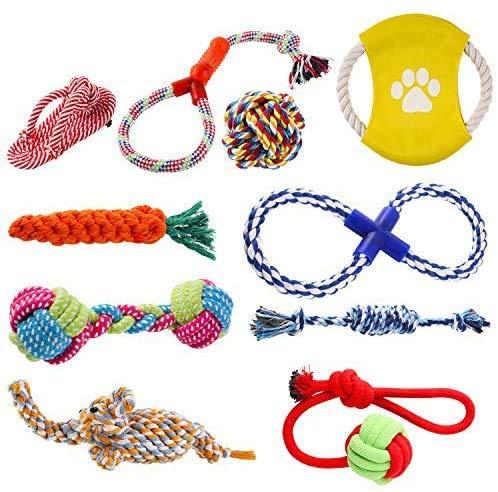 pedy Hundespielzeug Set,Hundeseile, interaktives Spielzeug,Pet Rope Spielzeug,mit verschiedenen Farbe und Form, geeignet für kleine und mittelgroße Hunde (10 Stück )