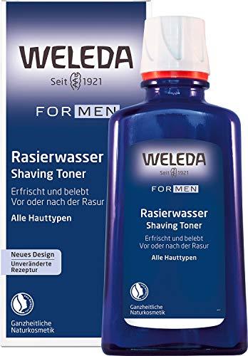 WELEDA FOR MEN Rasierwasser, Naturkosmetik Pre Shave und After Shave erfrischt und belebt die Haut vor und nach der Trocken- und Nass-Rasur, pflegt und desinfiziert kleine Schnittwunden (1 x 100 ml)